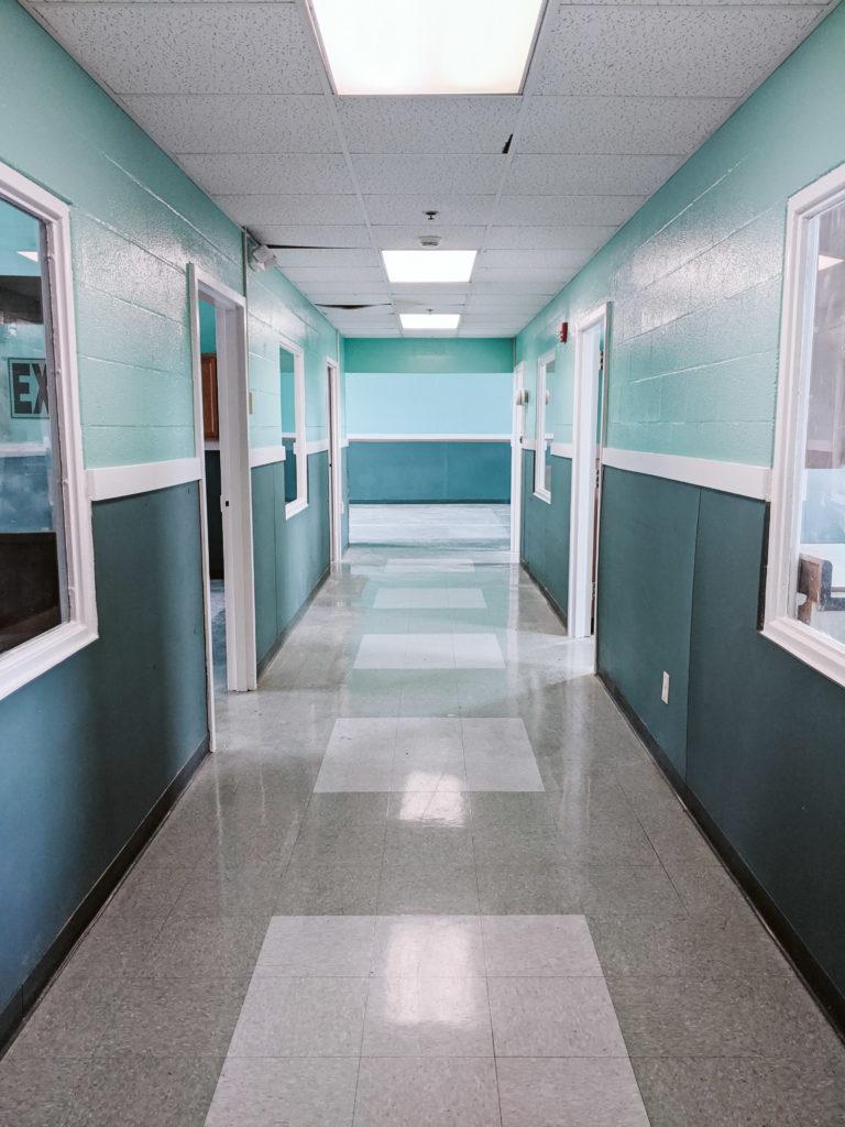 Hallway leading to classrooms